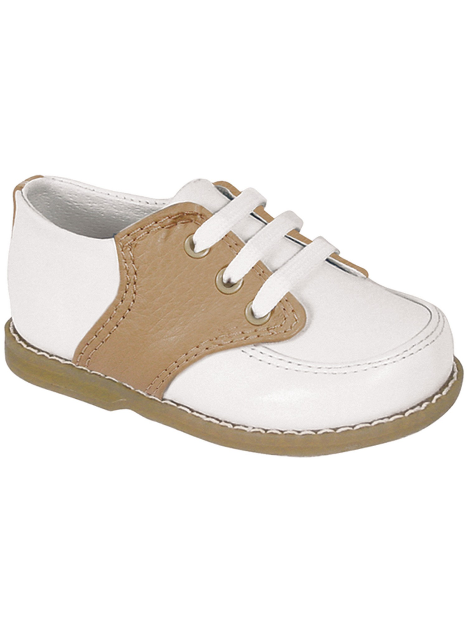 Baby Deer Little Boys White Tan Leather Saddle Oxford ...