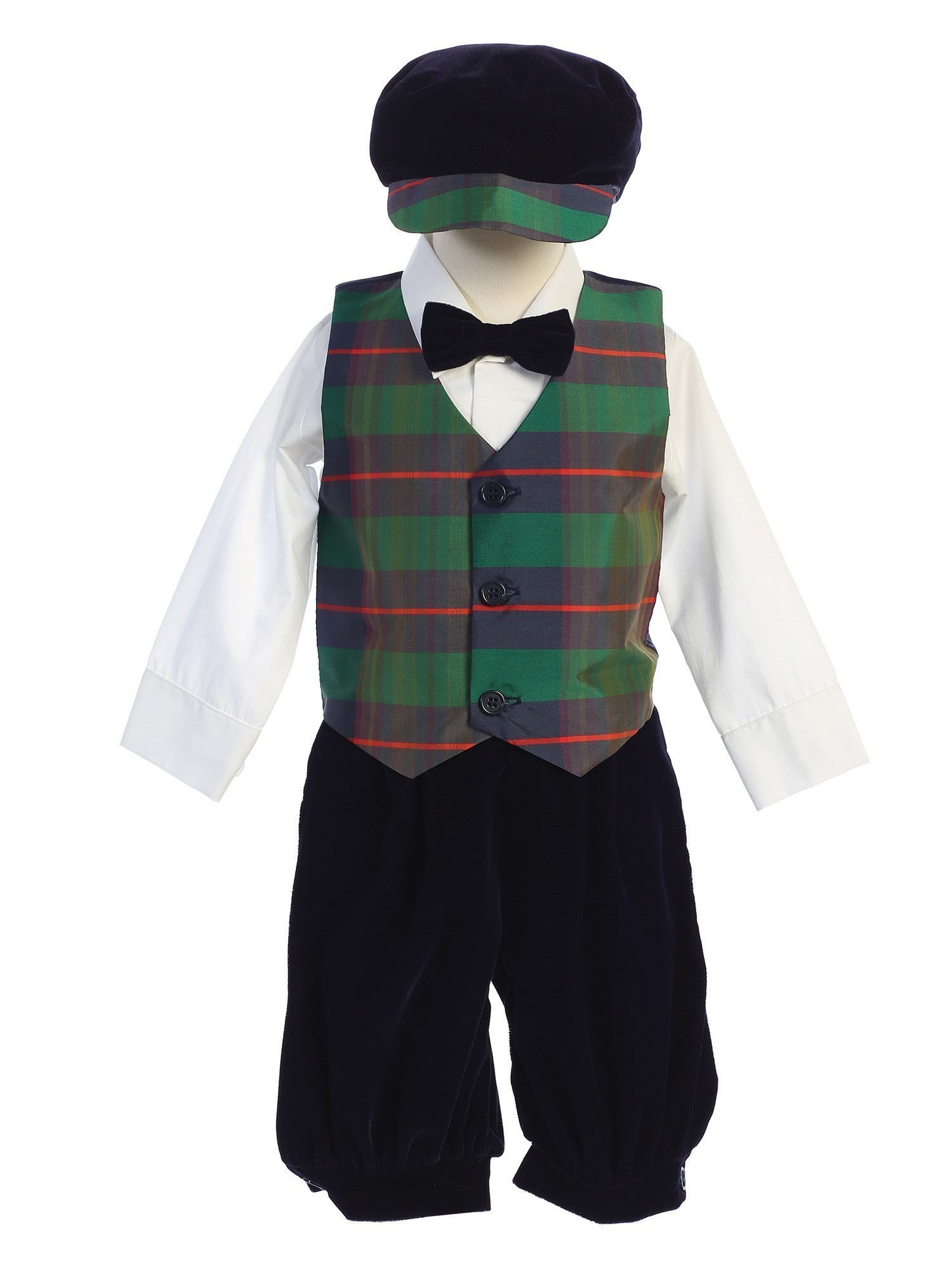 Lito Baby Boys Red Black Plaid Pattern Vest Velvet Knicker Set Outfit 3-24M