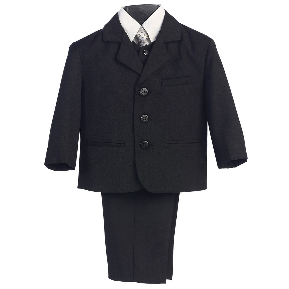 boys Black Chambray pattern formal suit executive special occasion wedding
