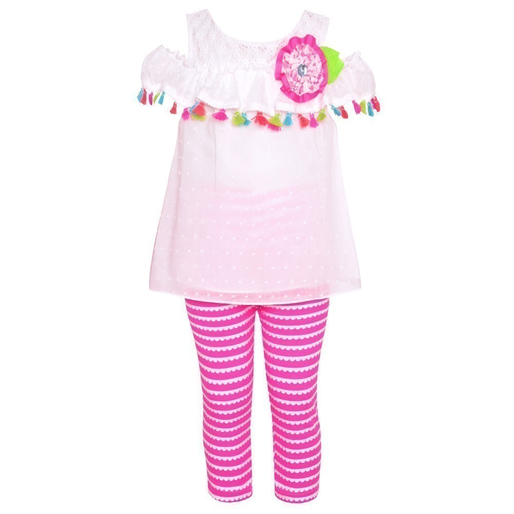 Rare Editions Little Girls Pink Flutter Sleeve Tunic 2 Pc Legging Outfit 3T
