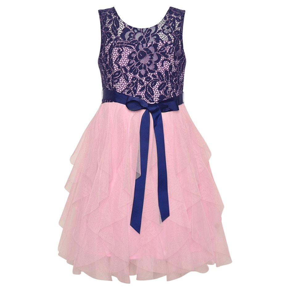 Rare-Editions-Little-Girls-Lace-Navy-Pink-Cascade-Ruffle-Occasion-Dress-4-6X