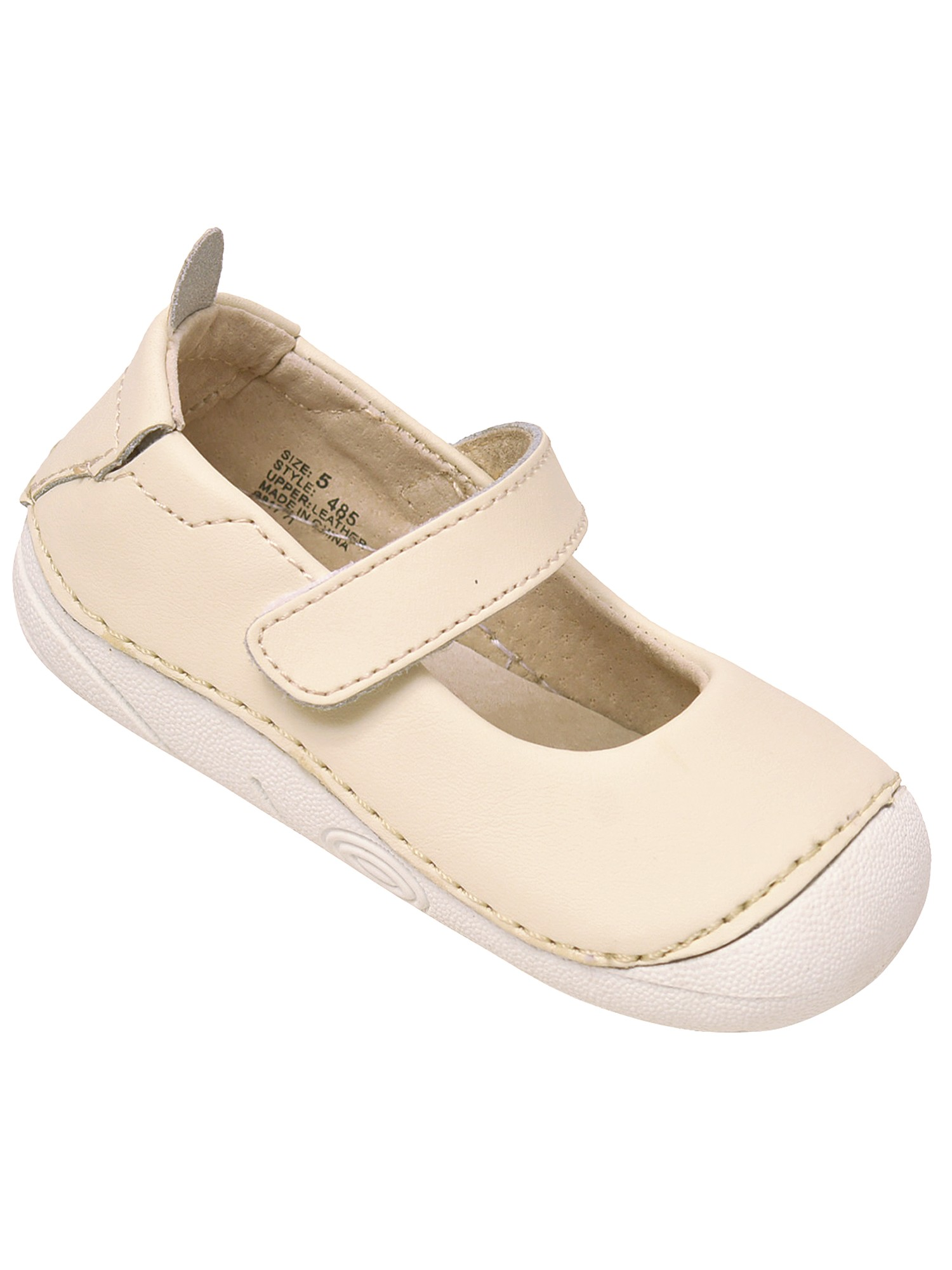LAmour Girls White Scalloped Trim Leather Mary Jane Shoes 4 Baby-10 Toddler