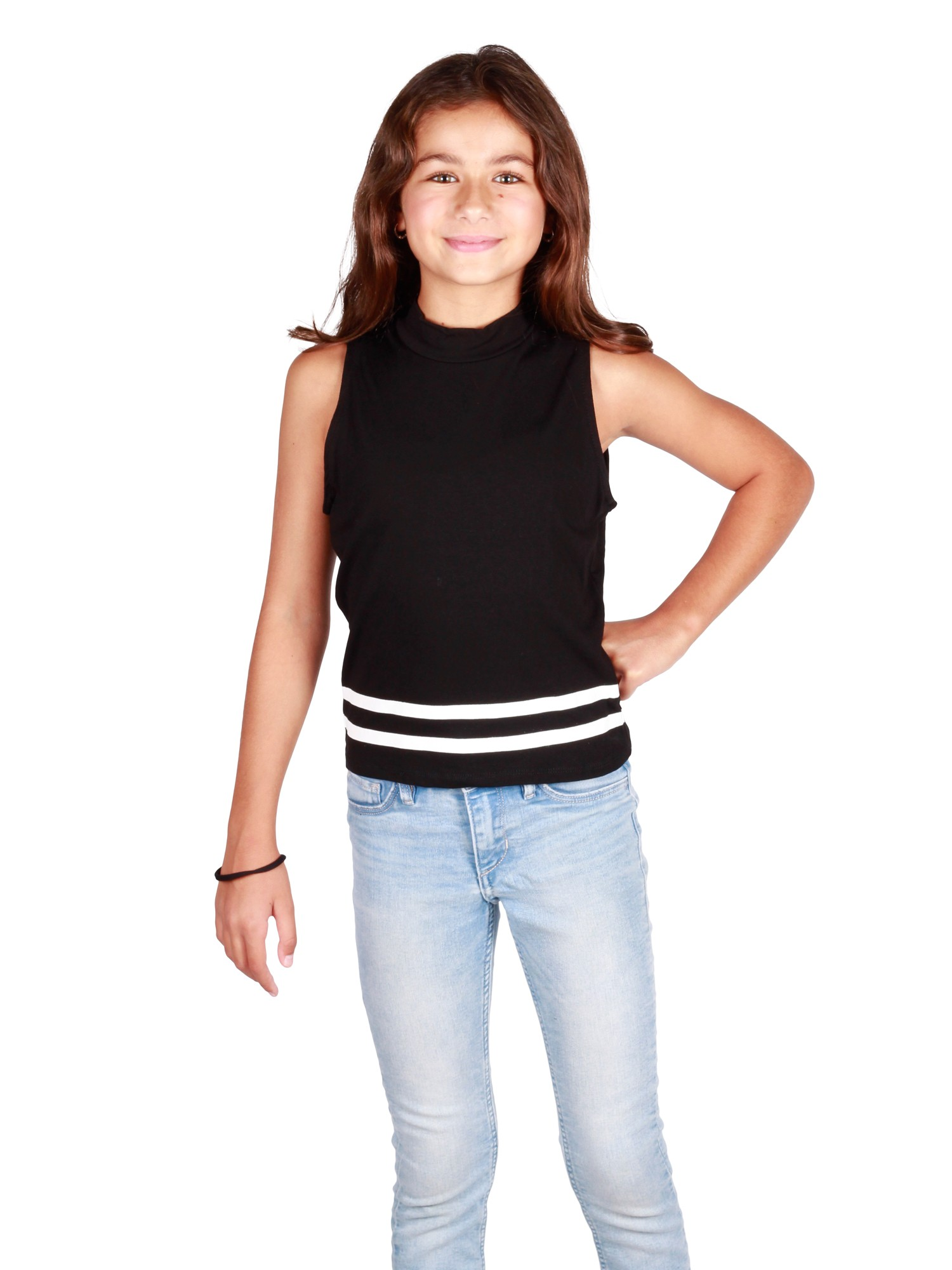 Lori /& Jane Big Girls Wine Black Short Sleeved Chest Pocket T-Shirt 10-16