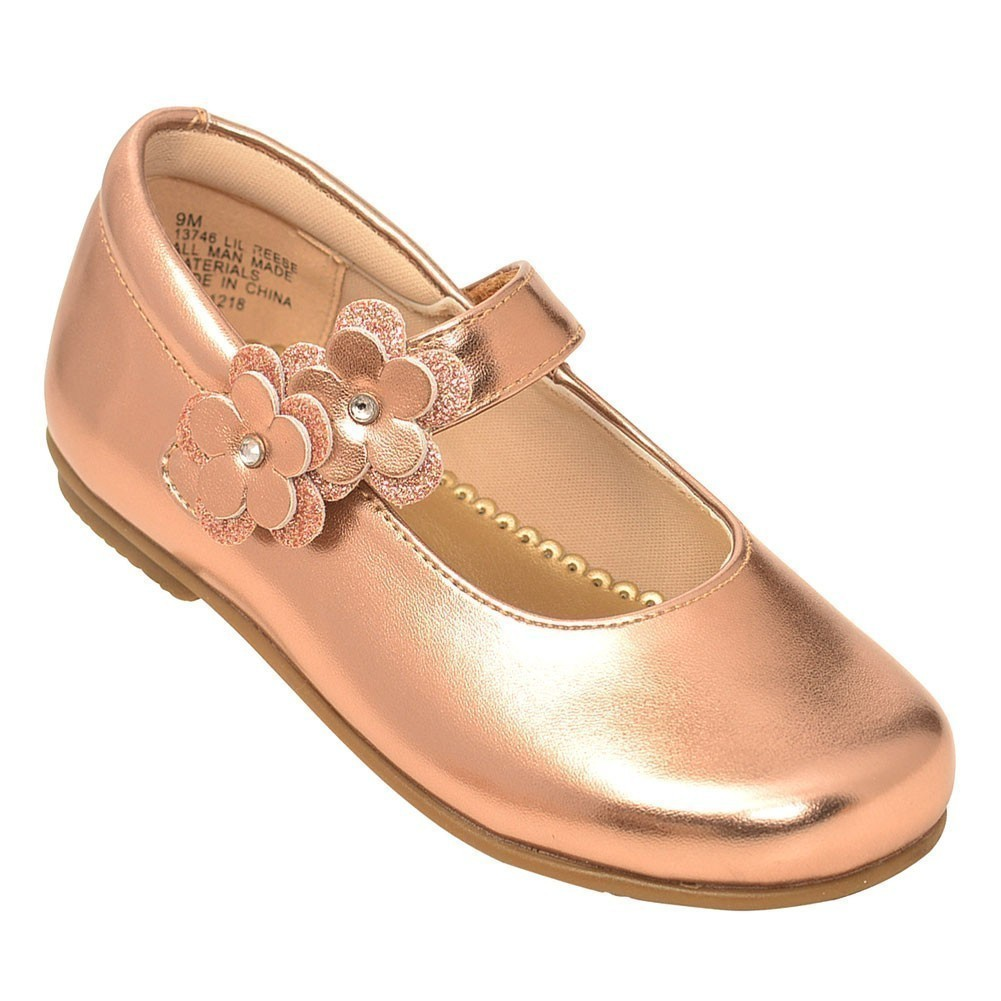 New Girl/'s Bow-Accent Rose Gold Mary Jane
