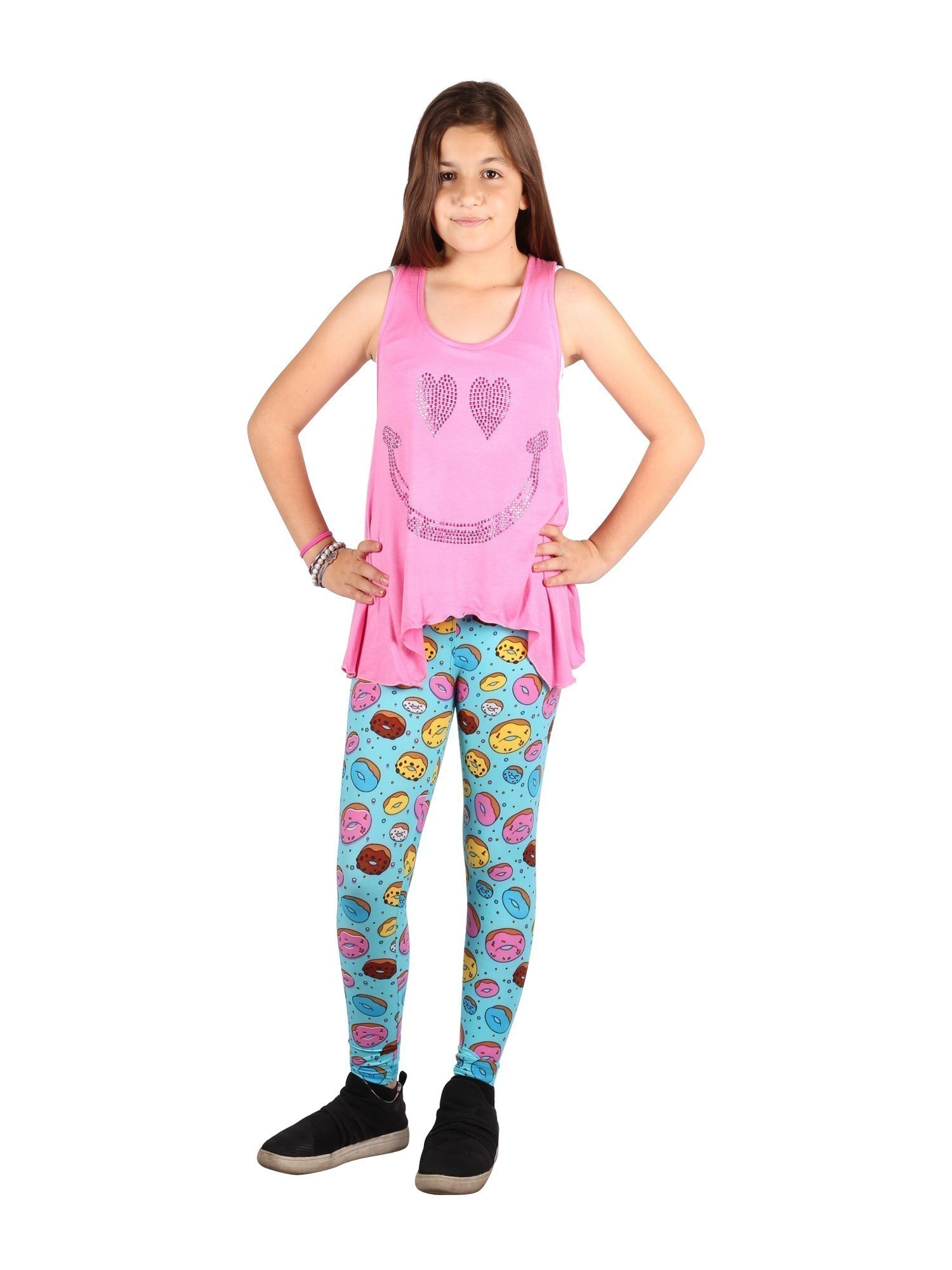 Lori /& Jane Big Girls Pink Sleeveless Tank Doughnuts Leggings Outfit Set 6-14