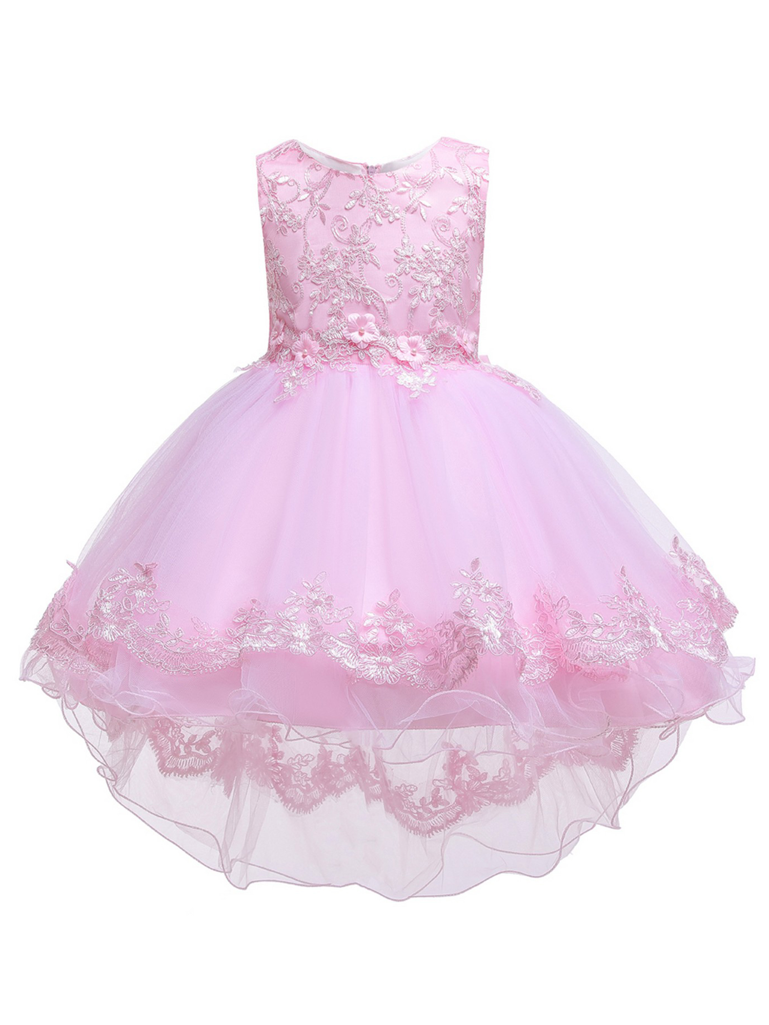 Rainkids Little Girls Champagne Sequin Bow Tulle Hi-Low Flower Girl Dress 3-6