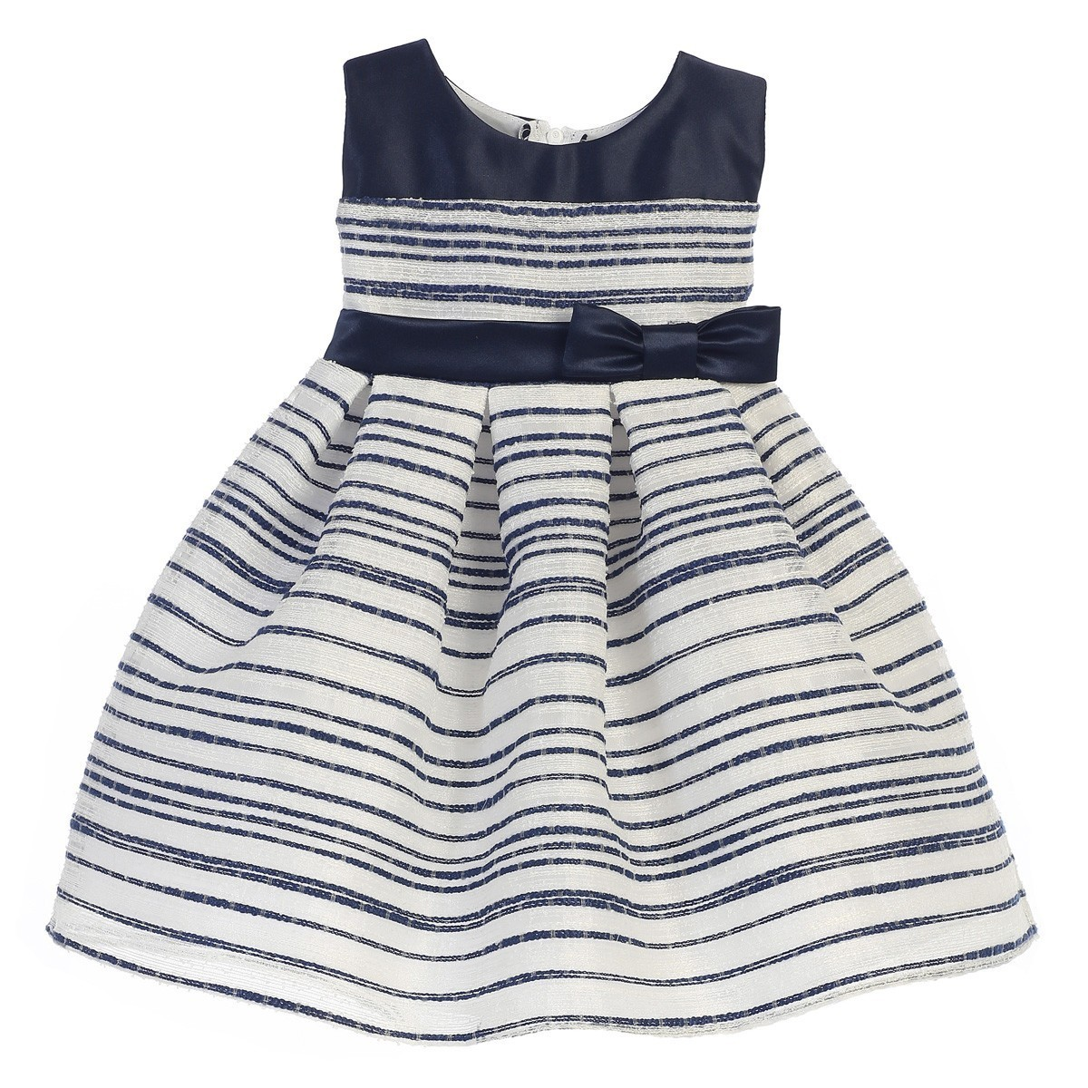 Sweet Kids Baby Girls Ivory Woven Striped Organza Special Occasion Dress 6-24M