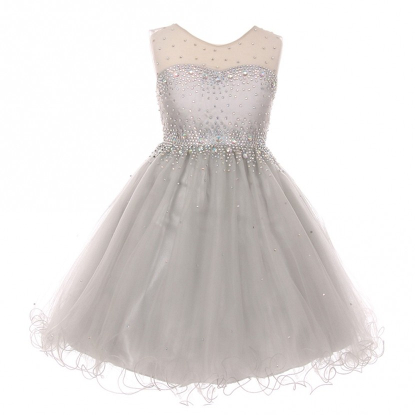 Little Girls Silver Sparkling Rhinestone Illusion Tulle Party Formal Dress 4-6