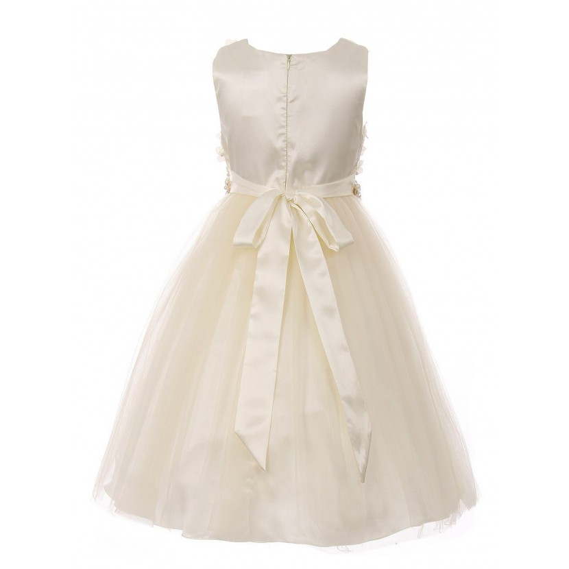 Big Girls Champagne Pearl 3D Floral Accents Tulle Junior Bridesmaid Dress 8-16