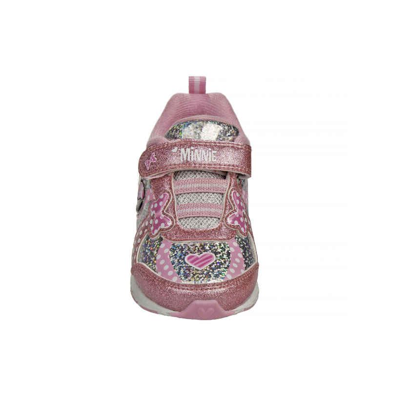 Disney Girls Pink Silver Polka Dot Bow Minnie Mouse Sneakers 7 Toddler-12 Kids