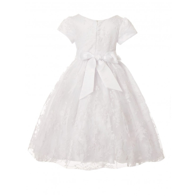 Little Girls White French Chantilly Lace T-Length Flower Girl Dress 2-6