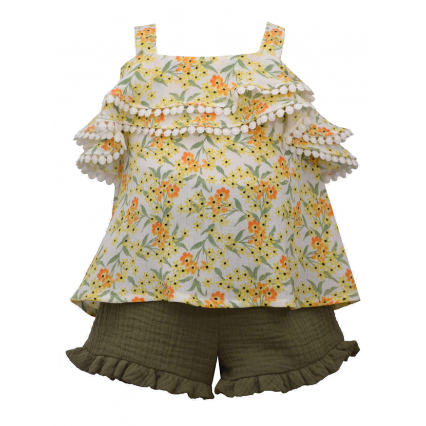 Bonnie Jean Little Girls Yellow Floral Ruffled Top Gauze Shorts Outfit 2T-6X
