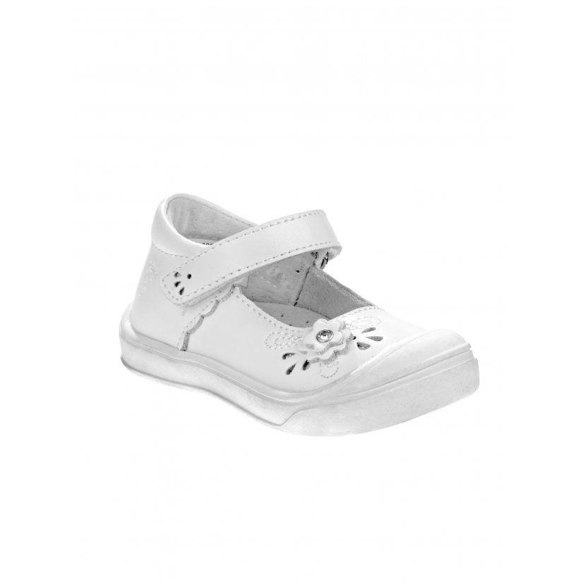 Josmo Little Girls White Flower Cutout Detail T Bar Mary Jane Shoes 5-8 Toddler