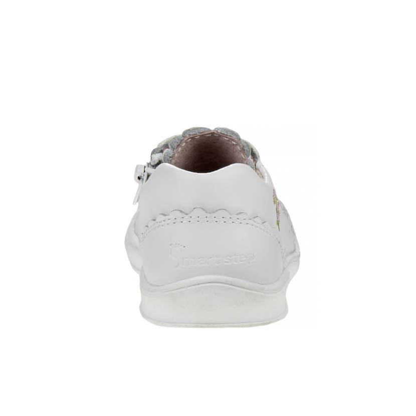 Josmo Little Girls White Flower Cushioned Insole Lace Sneakers 5-8 Toddler