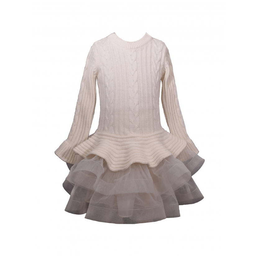 Bonnie Jean Little Girls Ivory Cable Knit Sweater Christmas Dress 2T-6X