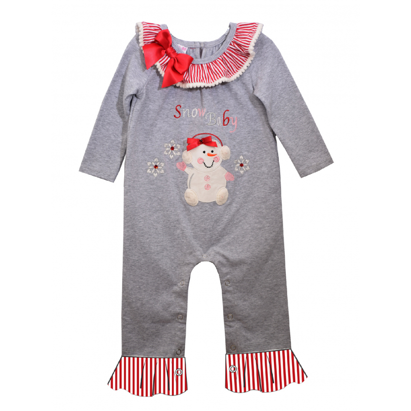 Bonnie Jean Baby Girls Gray Long Sleeve Snow Baby Christmas Coverall 3-24M